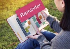 每周日程表提示活动计划者概念 免版税图库摄影