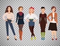 每天礼服的动画片十几岁的女孩 库存例证