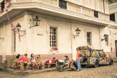 每天街道生活在马尼拉王城区-菲律宾 免版税库存图片