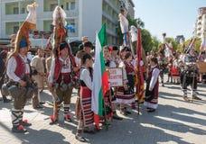 每年春天狂欢节在瓦尔纳,保加利亚 免版税库存图片