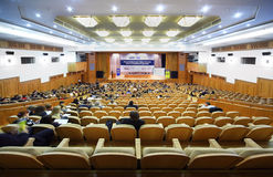 每年财务第一个论坛阶段视图 库存照片