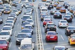每日交通堵塞在北京中心商务区,中国 图库摄影