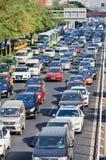 每日交通堵塞在北京中心商务区,中国 免版税库存照片