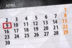 每日企业日历页4月2018 9日 图库摄影