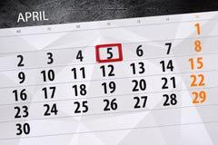 每日企业日历页4月2018 5日 图库摄影