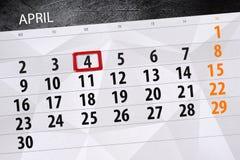 每日企业日历页4月2018 4日 库存图片