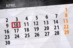 每日企业日历页4月2018 10日 免版税库存照片