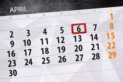 每日企业日历页4月2018 6日 免版税图库摄影