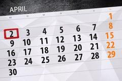 每日企业日历页4月2018 2日 图库摄影