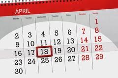 每日企业日历页4月2018 18日 免版税图库摄影