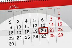 每日企业日历页4月2018 20日 免版税库存图片