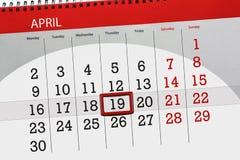 每日企业日历页4月2018 19日 免版税库存图片