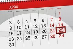 每日企业日历页4月2018 22日 库存图片