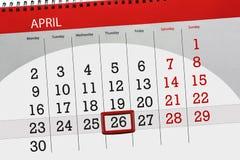 每日企业日历页4月2018 26日 库存图片