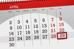 每日企业日历页4月2018 29日 库存照片