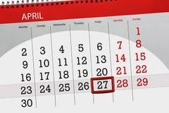 每日企业日历页4月2018 27日 库存照片