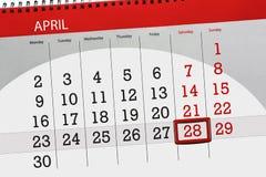 每日企业日历页4月2018 28日 免版税库存照片