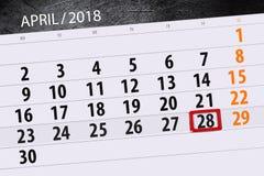 每日企业日历页4月2018 28日 库存图片