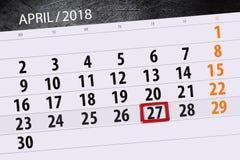 每日企业日历页4月2018 27日 图库摄影