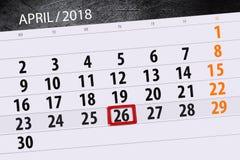 每日企业日历页4月2018 26日 库存照片