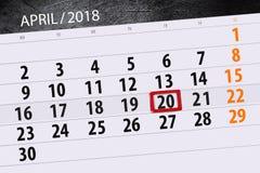 每日企业日历页4月2018 20日 免版税库存照片