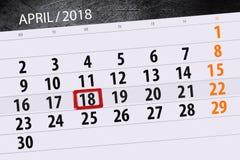 每日企业日历页4月2018 18日 免版税库存照片