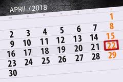 每日企业日历页4月2018 22日 免版税图库摄影