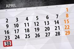 每日企业日历页4月2018 30日 库存图片
