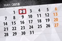 每日企业日历页5月2018 2日 免版税图库摄影