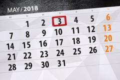 每日企业日历页5月2018 3日 免版税库存图片