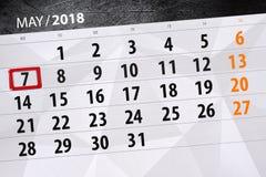 每日企业日历页5月2018 7日 库存照片