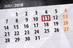 每日企业日历页5月2018 11日 免版税库存照片