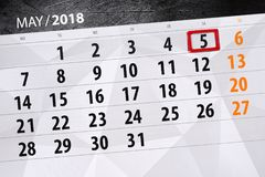 每日企业日历页5月2018 5日 免版税库存图片