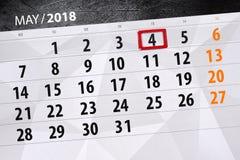 每日企业日历页5月2018 4日 库存照片