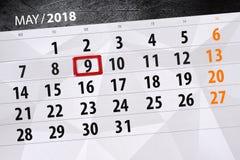 每日企业日历页5月2018 9日 库存图片