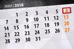 每日企业日历页5月2018 6日 库存照片