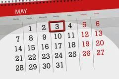 每日企业日历页5月2018 3日 免版税库存照片
