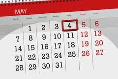 每日企业日历页5月2018 4日 免版税库存图片