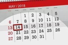 每日企业日历页5月2018 14日 库存照片