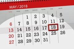 每日企业日历页5月2018 18日 免版税库存照片