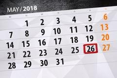 每日企业日历页5月2018 26日 图库摄影