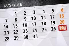 每日企业日历页5月2018 27日 库存照片
