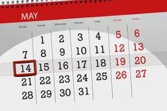 每日企业日历页5月2018 14日 免版税库存图片
