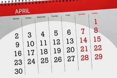 每日企业日历页4月2018 库存图片