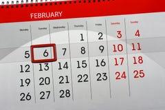 每日月被隔绝的日历调度程序2月2018 6日 免版税库存图片