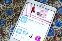 每日瑜伽流动app 图库摄影