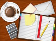 每日计划者、咖啡和文具 库存例证