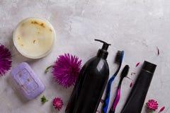 每日身体卫生学-牙膏,牙刷,肥皂,液体阵雨 库存照片