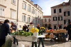 每日,早晨市场在杜布罗夫尼克市,克罗地亚 图库摄影