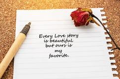 每篇爱情小说美好,但是我们的是我的喜爱 库存照片